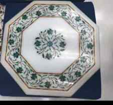 "18"" Marble center Coffee Table Top Lapis Inlay green malachite Home Decor b4"