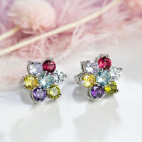 Rainbow Flower Shaped Multi CItrine Amethyst Garnet Gems Silver Stud Earrings