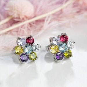 Rainbow Flower Shaped Multi CItrine Amethyst Garnet Gems Silver Stud Earrings