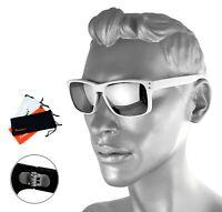 Rennec Herren Sonnenbrille Silber Verspiegelt Weiß Doppelgelenke Nerd R14W Etui