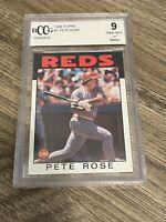 Pete Rose 1986 Topps Cincinnati Reds Card #1 BCCG 9