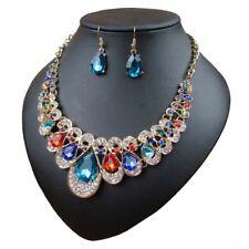 Fashion Women Crystal Pendant Choker Bib Chain Necklace Earrings Party Jewelry
