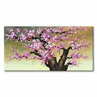 Hand Painted Pink Abstract Flower Oil Painting Wall Art Floral Canvas Home Decor