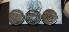 Lot of 3 Large Cents 1c 1845, 1851 & 1856 Damaged