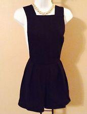 Women's Black Suspender Romper Jumper Jumpsuit Pleated Dress Shorts w/Pockets S