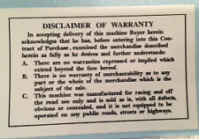 HUSQVARNA DISCLAIMER OF WARRANTY DECAL 250 CROSS 400 CROSS UP-TO 1977