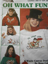 Vtg 1994 Oh What Fun! Santa Holiday Snowman Counted Cross Stitch Pattern Book