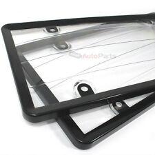 2 Black Plastik Kennzeichen Rahmen mit Transparenter Schutz für Auto-Car-Truck