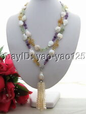 """45"""" White Coin Pearl Amethyst Citrine Prehnite Long Necklace"""