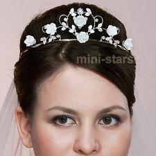 sposa matrimonio BALLO BIANCO ROSA Ceramica Fiore Cuore tiara T1377
