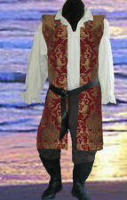 Mens 4pc Renaissance Red Pirate Open Tunic Belt Poets All Sizes Available