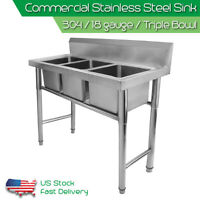 Commercial 304 Stainless Steel Sink 18 Gauge Kitchen 3 Compartment Triple Bowls