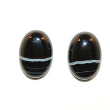 Black and White Agate 10x14mm with 4.5mm dome Cabochons Set of 2 (11757)