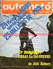 AUTO MOTO JOURNAL 20 SUZUKI RH 250 Gilberto PARLOTTI GP F1 MONACO CHARADE 1971