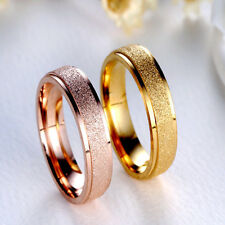 Size #7-12 Trendy New Wedding Band Ring Rose Gold Silver Frosted Stainless Steel
