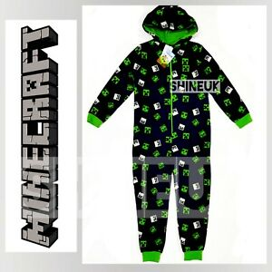 MINECRAFT Creeper Gaming Kids/Boys all in one jersey onesuit Navy Hooded Primark