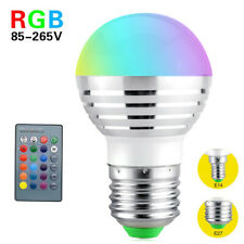 E27 E14 RGB LED Globe Lamp Colour Changing 7W Light Bulb+IR Remote Control