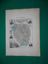 SEINE ET OISE CARTE ATLAS MIGEON Edition 1885, Carte + fiche descriptive