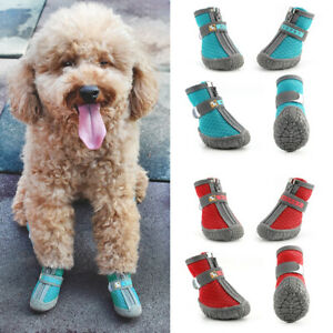 Soft Mesh Small Dog Shoes Reflective Non-Slip Boots Booties for Running Walking