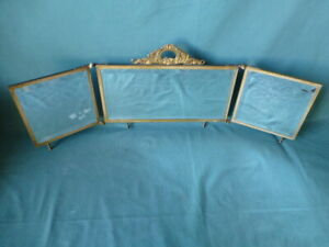 Antique 3 Panel Folding Pat 1898 Brass & Celluloid Beveled Glass Vanity Mirror