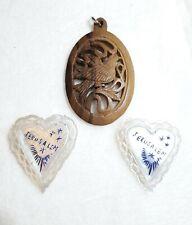 * Vintage Jerusalem Mop Heart Pins and Wooden Bethlehem Dove Pendant L 00004000 ot *