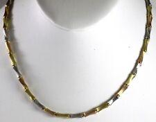 "18K Tri-Tone Necklace Chain Yellow White Rose Gold Italian 16 1/2"" 23g WHOLESALE"