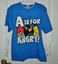 NWT ANGRY BIRDS boys Long Sleeve Blue White A id For ANGRY Shirt* L Large