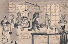 1904 Artist Signed LOUIS WAIN Cats Jockey Weighing EMBOSSED CAT Postcard