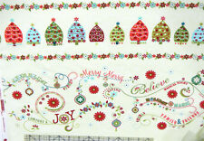 Holiday Magic Christmas Border Green Fabric