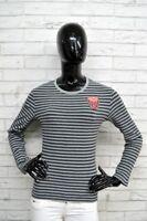 Maglia BIKKEMBERGS Donna Taglia L Maglia Shirt Polo Maglietta A Righe Elastica