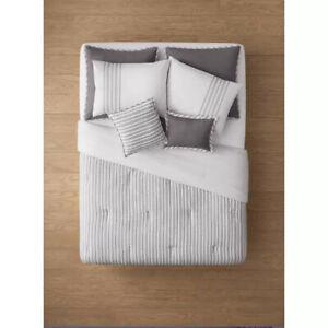 Queen 8pc Edenton Reversible Classic Stripe Comforter Set White/Grayd