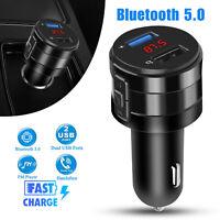 Wireless Bluetooth 5.0 Car FM Transmitter Music AUX Radio 2 USB Charging Ports