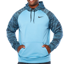 NIKE Mens Thermal Pullover Training Hoodie Cerulean Blue/Black Size 4XL Tall