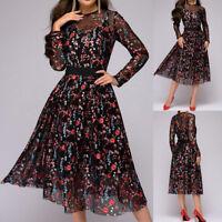 Women Floral Printed Knee Dress Mesh Autumn Boho A-line Dress Ladies Black Dress