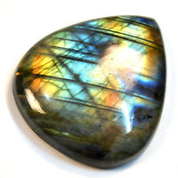 Cts. 76.95 Natural Labradorite Multi Blue Fire Cabochon Heart Cab Loose Gemstone