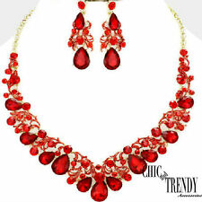 HIGH QUALITY, RED CRYSTAL WEDDING FORMAL CHUNKY NECKLACE JEWELRY SET TRENDY