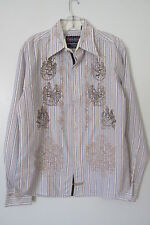 English Laundry Men's Blue/Brown Striped Embroidered Button Front Shirt SIZE:M