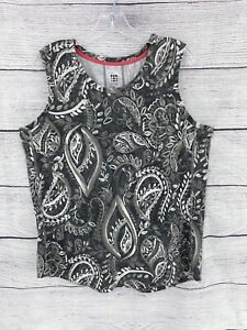 Title Nine XL Gray and Gray Floral Athleisure Sleeveless Top