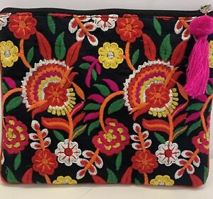 Hungarian Folk Style Embroidered Clutch/Makeup Bag