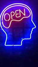 "Open Mind Neon Light Sign Lamp Beer Pub 14"" Artwork Glass Decor Bar Artwork"
