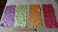 4 French Antique c1900 Hand Embroidered Silk Ribbon Samples~Asian Motifs