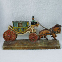 Vintage Hubley Cast Iron Horse Drawn Carriage #376 2