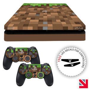 Green Brown Pixels Block PS4 SLIM Skin Decal Vinyl Sticker Wrap