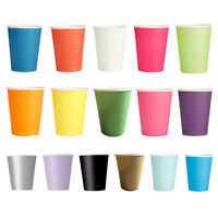 20 Paper Cups (9oz) - Plain Solid Colours Birtay Party Tableware Catering S8Z5