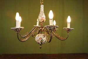 70er Vintage Designer Ceiling Light Chandelier Porcelain Lamp