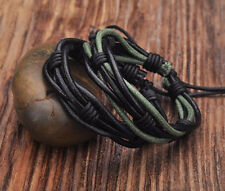 G177 Lot 2pc Cool Braided Leather Hemp Friendship Bracelet Bangle Wristband Men