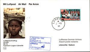 LUFTHANSA Erstflug 1st Flight 1985 Frankfurt Lagos Libreville with stamp Nigeria