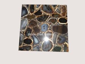 "18"" Agate Corner Table Top Natural stone Handmade Work Decor"
