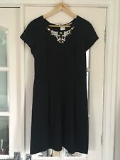 Banana Republic Black Viscose Jersey Gem Embellished Fitted Dress Size 10 BNWT