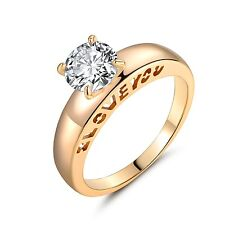 """White Topaz """"I LOVE YOU """" Engagement Solitaire Ring Size 5-9 18K Gold Filled"""